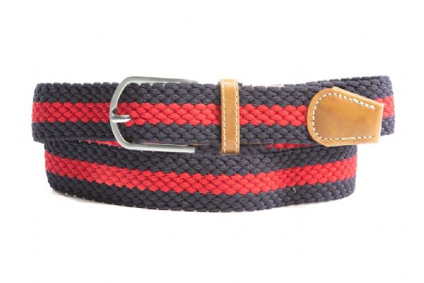 Euro-Star Platted Belt in Navy and Red